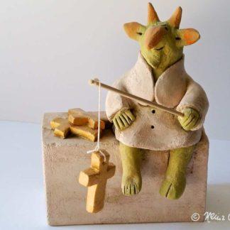 Anglerglück Keramik-Cartoon