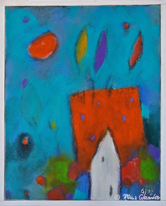 Acrylbild Heinz Glaasker Der rote Berg