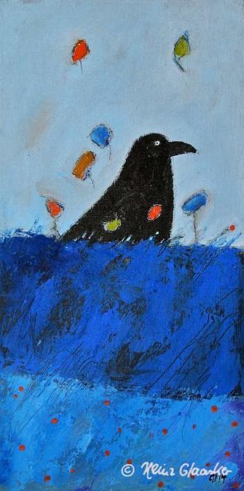 Acrylbild Heinz Glaasker Blaue Felder